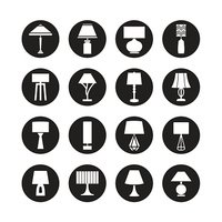 lamp vector, desk lamp,table lamp, decorate lamp icon set