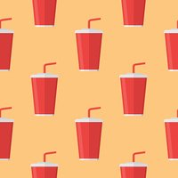 Seamless pattern with soda takeaway on orange background