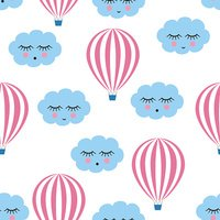 Pink hot air balloons with smiling sleeping clouds seamless pattern.