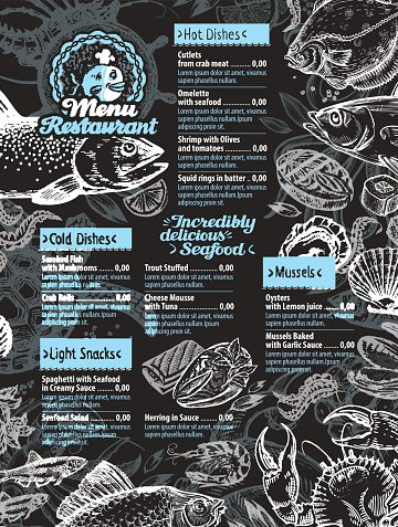 seafood. restaurant menu design template. hand drawn seafood
