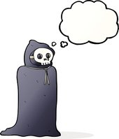 cartoon spooky halloween costume with thought bubble