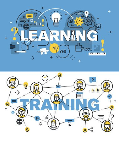 Set of vector illustration concepts of words learning and training