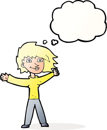 cartoon excited woman waving with thought bubble