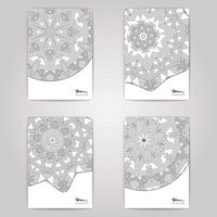 Flyer set with linear ornament design.