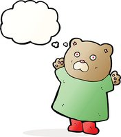funny cartoon bear with thought bubble