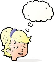 cartoon pretty female face with thought bubble