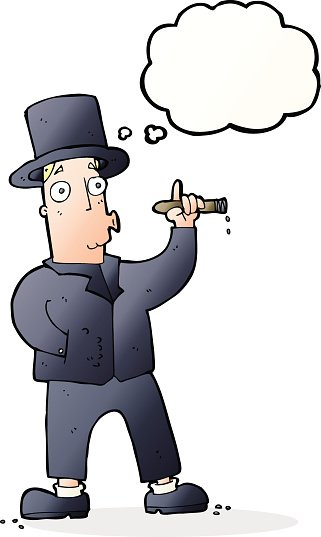 cartoon smoking gentleman with thought bubble