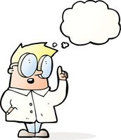 cartoon scientist with thought bubble