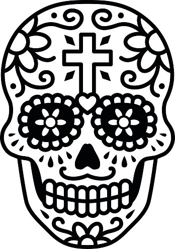Decorated skull / calavera celebrating Day of the Dead illustration