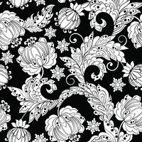 black and white vintage floral seamless pattern