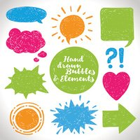 Vector set of hand drawn elements and the speech bubble