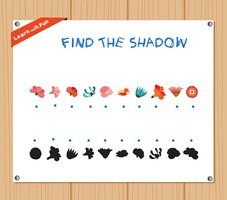 Find the Shadow Educational Activity Task with flowers