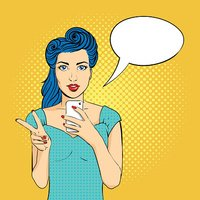 Vector pop art woman with open mouth holding a phone