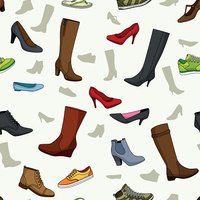 Seamless pattern with women shoes