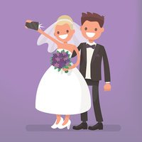 The bride and groom make selfie. Photo of happy newlyweds