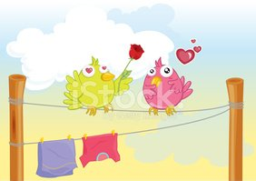 Love,Bird,Clothes Rack,Ilus...