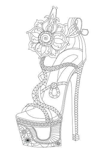 Shoe with flowers. Coloring books for adults.