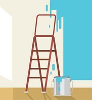 Painted walls. Vector flat illustration