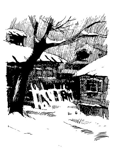Winter landscape with old houses and trees under snow. Engraving.