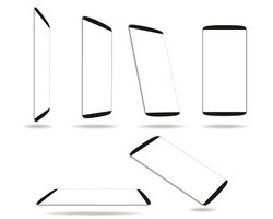 Set new smartphones different angles views isolated on white template