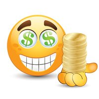 Smiling face with gold coins on hand. Vector