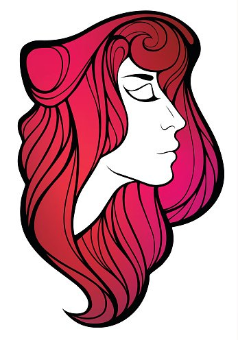 Vector portrait of beauty girl with pink hair.