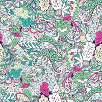 Tracery seamless pattern. Ethnic colorful mehndi doodle texture design. Vector.
