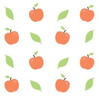 Seamless vector pattern with apples and leaves
