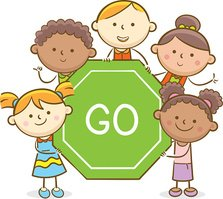 Kids With Go Sign