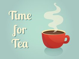 Red cup of tea with smoke and text