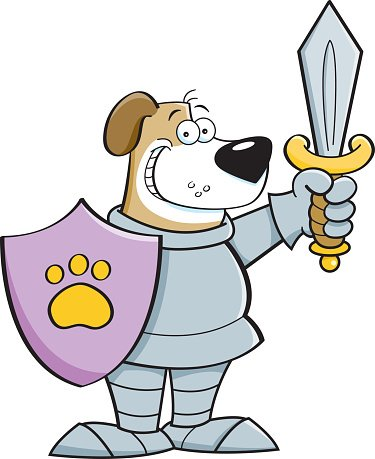 Cartoon dog dressed as a knight.