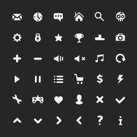 White ui icons set. User interface icons, pictograms