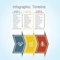 Timeline Infographic colored horizontal arrows numbered for three position