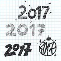 New year hand lettering vector ink set.