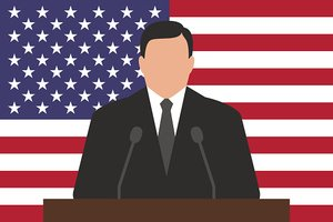 Politician behind podium, USA flag at background