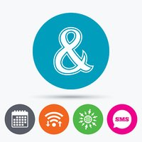 Ampersand sign icon. Logical operator AND.