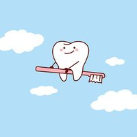 tooth riding toothbrush into sky