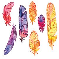 vector set of watercolor feathers