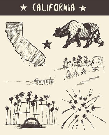 Hand drawn set of California state vector sketch