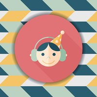Birthday party boy flat icon with long shadow,eps10