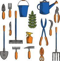 Sketches of hand tools for farming and gardening