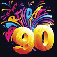 Fireworks Happy Birthday with a gold number 90