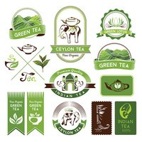 Green, indian and black tea labels