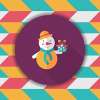 snowman flat icon with long shadow, eps10