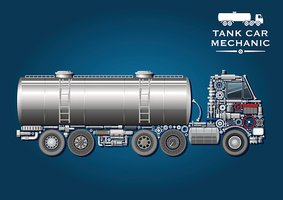 Tank truck symbol made of mechanical parts