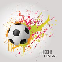 Vector Soccer design with ball and colorful splashes
