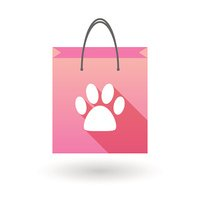 Shopping bag icon with an animal footprint