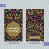 Vector  templates set of business card with doodles colorful ornament