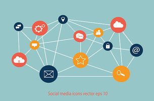 Social media icons flat vector with blue background