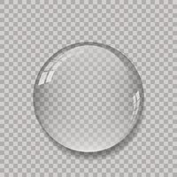Crystal ball with reflections on transparent background. Vector.